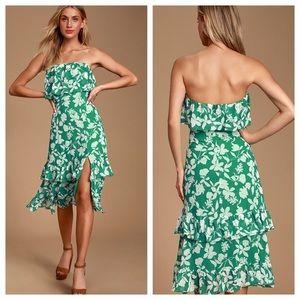 Lulu's Paradise is Waiting Floral Midi Dress